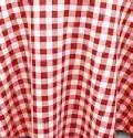 Where to rent 120 RND POLY RED WHITE GINGHAM in Columbus GA