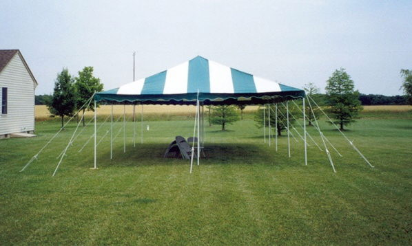 Where to find 20 X 20  GREEN STRIPE TENT W CTR POLE in Columbus